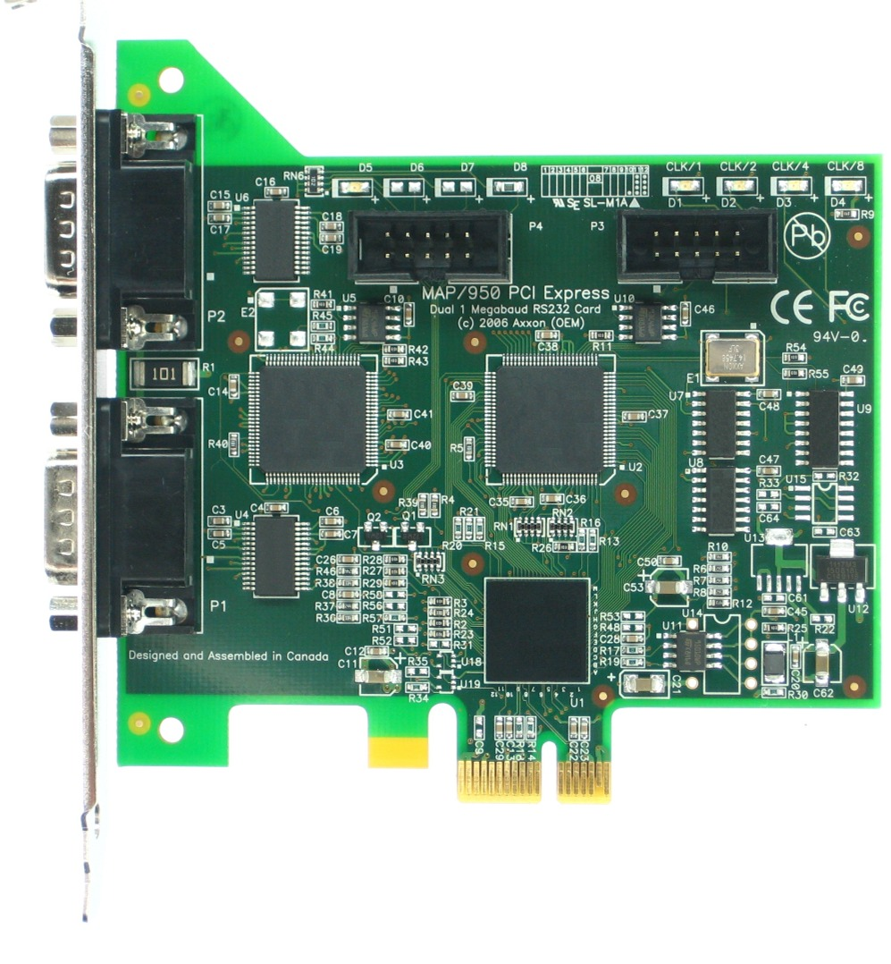 Click for large picture of the PCI Express (PCIe) LF684KB Dual RS232 adapter