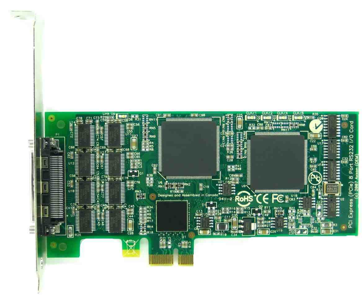 Click for large picture of PCI Express (PCIe) LF734KB 8 port RS232 card