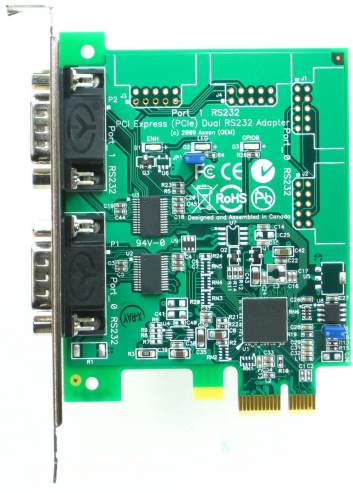 Click for large picture of the PCI Express (PCIe) LF772KB Dual RS232 adapter
