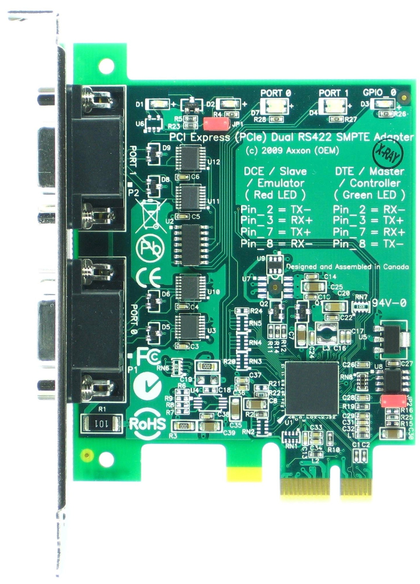 Click for large picture of the PCI Express (PCIe) LF775KB SMPTE Dual RS422 adapter