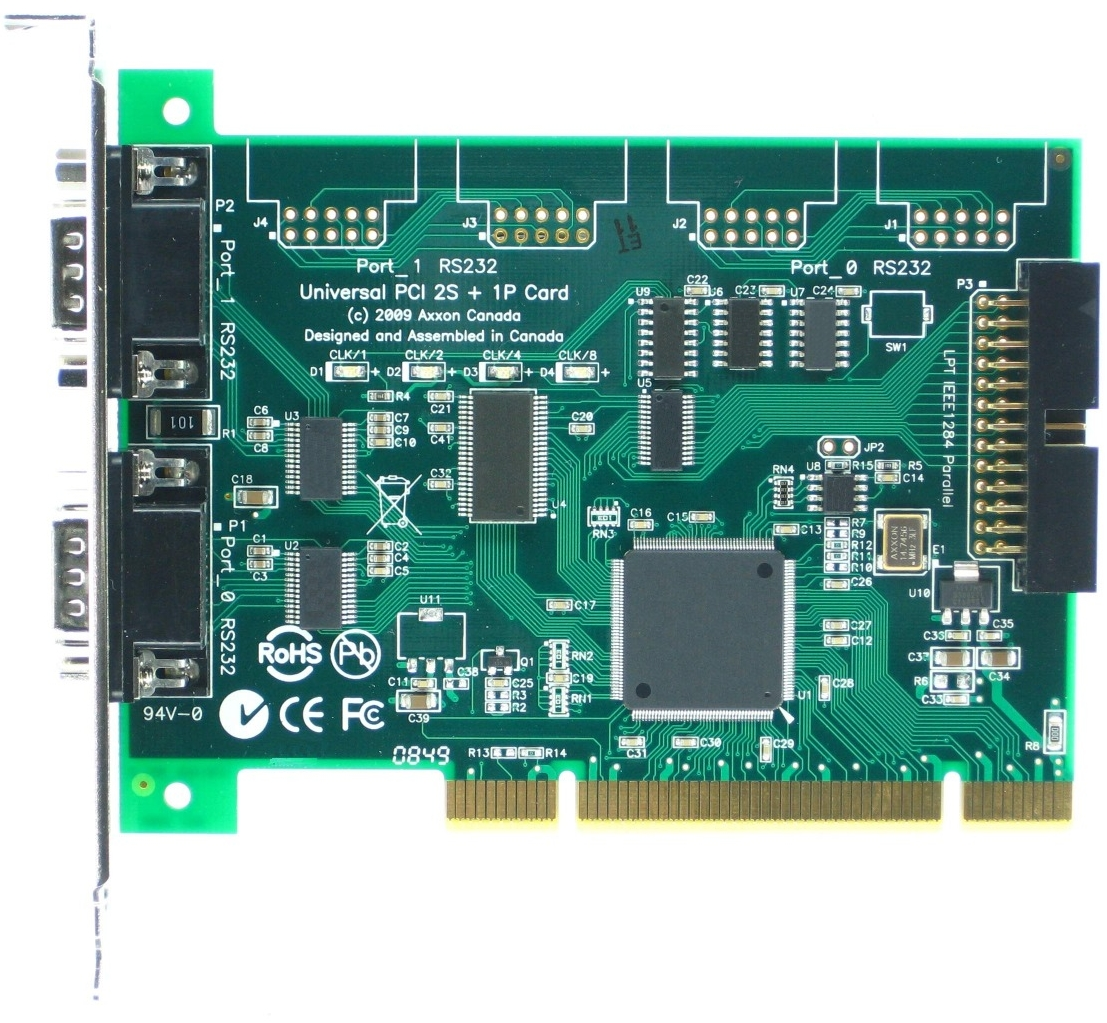Click for large picture of the Universal PCI Dual Serial RS232 + Parallel Port adapter